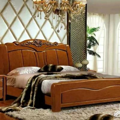 新款现代简约中式实木床  双人床婚床家装木床批发可定制