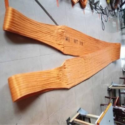 大吨位扁平吊装带_加宽型扁平双环吊带_特厚防割起重吊装带