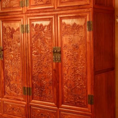 红木家具制造厂刺猬紫檀/缅花百子顶箱柜供应