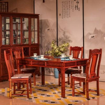 高端红木家具知名加工厂刺猬紫檀/缅花莲花餐桌