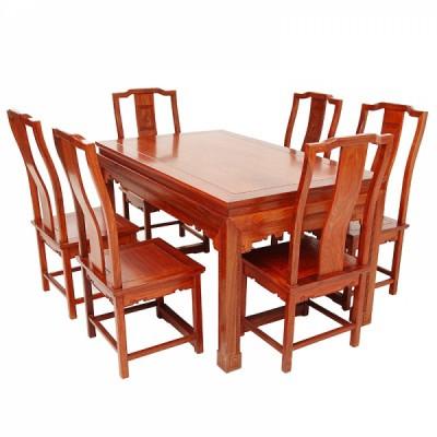 红木家具刺猬紫檀/缅花和和美美餐桌七件套供应