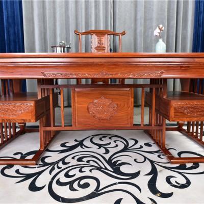 1.78米皇冠茶台6件套红木家具非洲花梨木(刺猬紫檀)