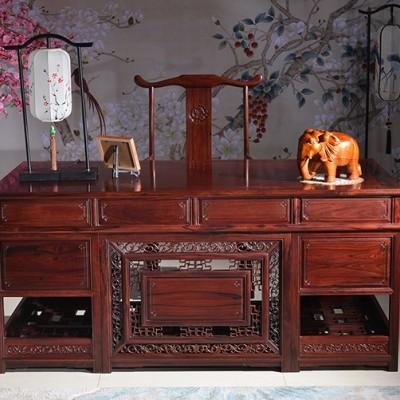 高端红木家具老挝红酸枝办公桌古典风格