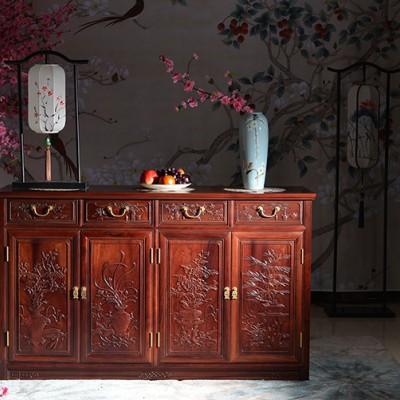 追求质量老挝红酸枝餐边柜红木家具公司优惠供应