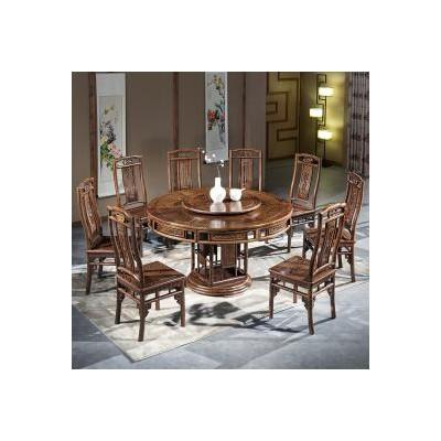 纯实木鸡翅木明式圆餐桌明清家具红木家具