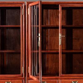 优品红木家具大果紫檀明式书柜 陈列柜
