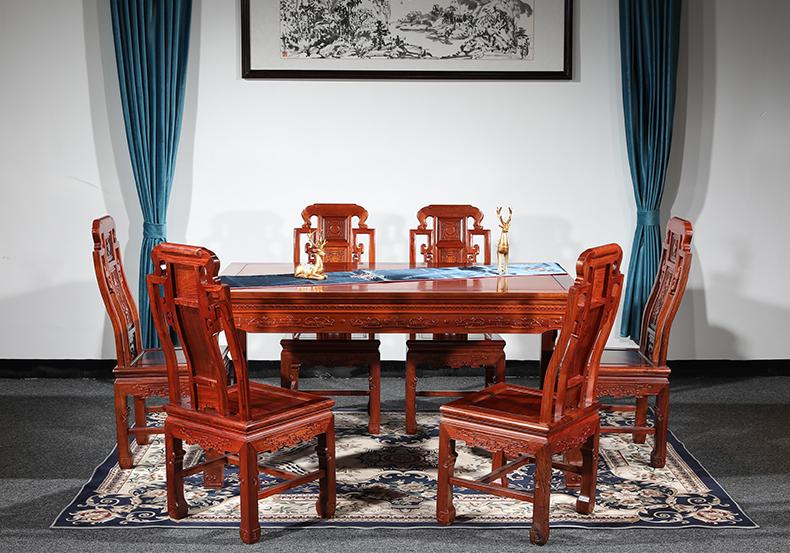缅甸花梨木喜从天降餐桌