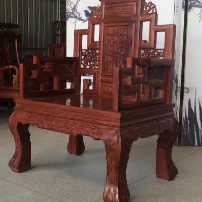 非洲黄花梨木山水宝座沙发红木家具